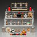 Art Glass:Other , Thirty-Two Miniature Perfumes. Circa 1920-1940.. Glass, ceramic,brands including Coty, Jean Patou.. L. 7-1/2 in. (display)...(Total: 30 Items)