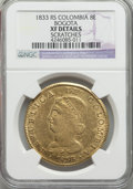 Colombia, Colombia: Republic gold 8 Escudos 1833-RS XF Details (Scratches) NGC,...