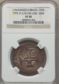 Brazil, Brazil: Alfonso VI of Portugal Counterstamped 250 Reis ND (1663)VF30 NGC,...