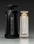 Art Glass:Lalique, Two Lalique Glass Perfume Bottles. Including Ambre forD'Orsay and R. Lalique Tzigane for Corday. Circa 1937.Molded... (Total: 2 Items)