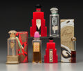 Art Glass:Lalique, Six Art Deco Glass Perfume Bottles. Circa 1935-1944.. Glass,bakelite, metal, brands include Hudnut. . Ht. 3-1/4 in.... (Total:6 Items)