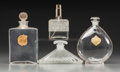 Art Glass:Lalique, Four Various Clear Glass Perfume Bottles . Circa 1920-1990.. Brandsincluding Houbigant, Arys and Molinard.. Ht. 5-3/4 in.. ... (Total:4 Items)