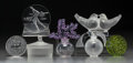 Art Glass:Lalique, Seven Lalique Society of America Glass Table Items. DegasBallerina, Clairfontaine, Flacon, Figure Skater, Love Birds.C... (Total: 7 Items)