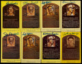 Baseball Collectibles:Others, Baseball Greats Signed HOF Plaque Postcards Lot of 8....