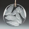 Art Glass:Lalique, R. Lalique Clear and Frosted Glass Trois Papillons Pendant.Circa 1919. Engraved R. Lalique. M p.576, No. ...
