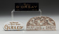 Art Glass:Lalique, Three Glass Perfume Company Plaques. Brands including Gueldy &D'Orsay . 20th century. Largest engraved R. Lalique Fra...(Total: 3 Items)
