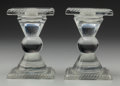Art Glass:Other , Pair of Lalique-Style Clear Glass Candlesticks. Ht. 4-3/4 in....(Total: 2 Items)