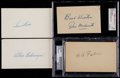 Baseball Collectibles:Others, Faber, Medwick, Gehringer and Rice Signed Government Postcards(4)....