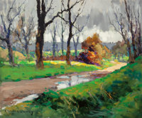 Edouard-Léon Cortès (French, 1882-1969) Chemin après la pluie Oil on canvas 18-1/4 x 21-3/4 inche...