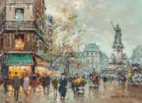 Antoine Blanchard (French, 1910-1988) Place de la République Oil on canvas 13-1/4 x 18 inches (33