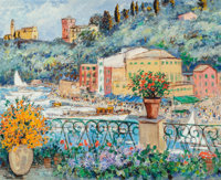 Michele Cascella (Italian, 1892-1989) View from a Terrace in Portofino Oil on canvas 32 x 40 inch