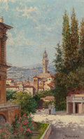 Fine Art - Painting, European:Modern  (1900 1949)  , Antonietta Brandeis (Czechoslovakian, 1849-1949). A View of Florence. Oil on board. 9-3/4 x 6-1/4 inches (24.8 x 15.9 cm...