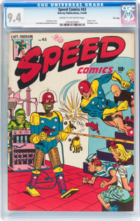 Speed Comics #43 (Harvey, 1946) CGC NM 9.4 Cream to off-white pages