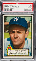 Baseball Cards:Singles (1950-1959), 1952 Topps James Runnels (Black Back) #2 PSA Mint 9 - Pop Two, OneHigher! ...
