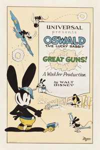 "Oswald the Lucky Rabbit in Great Guns! (Universal, 1927). One Sheet (27"" X 41"")"