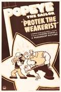 "Movie Posters:Animation, Popeye the Sailor in Protek the Weakerist (Paramount, 1937). OneSheet (27.25"" X 41"").. ..."