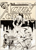 Original Comic Art:Covers, Fred Ray Action Comics #45 Cover Superman Original Art (DC,1942)....