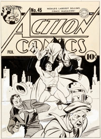 Fred Ray Action Comics #45 Cover Superman Original Art (DC, 1942)