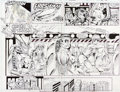 Original Comic Art:Panel Pages, Rob Liefeld X-Force #1 Double-Page Spread 18-19 Original Art(Marvel, 1991)....