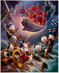 Memorabilia:Disney, Carl Barks Afoul of the Flying Dutchman Signed Limited Edition Lithograph Print #215/345 (Another Rainbow, 1985).... (Total: 2 Items)