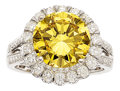 Estate Jewelry:Rings, Irradiated Yellow Diamond, Diamond, White Gold Ring. ...