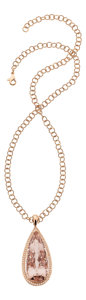 Estate Jewelry:Necklaces, Morganite, Diamond, Pink Gold Pendant-Necklace. ...