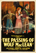 "Movie Posters:Western, The Passing of Wolf MacLean (Usla, 1924). One Sheet (28"" X 41"")....."