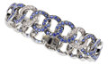 Estate Jewelry:Bracelets, Sapphire, Diamond, White Gold Bracelet, Diane Griswold Johnston....
