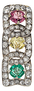Estate Jewelry:Brooches - Pins, Antique Sapphire, Emerald, Diamond, Platinum-Topped Gold Brooch. ...