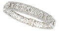 Estate Jewelry:Bracelets, Diamond, Platinum, White Gold Bracelet. ...