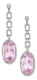 Estate Jewelry:Earrings, Kunzite, Diamond, Platinum Earrings. ...