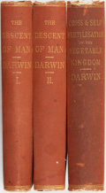 Books:Natural History Books & Prints, Charles Darwin. The Descent of Man, and Selection in Relation to Sex. [together with:] The Effects of Cross ... (Total: 3 Items)