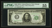 Fr. 2202-G* $500 1934A Mule Federal Reserve Note. PMG About Uncirculated 55