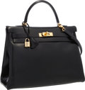 """Luxury Accessories:Bags, Hermes 35cm Black Calf Box Leather Retourne Kelly Bag with GoldHardware. Very Good to Excellent Condition. 14"""" Width..."""