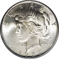 Peace Dollars: , 1927-D $1 MS66 PCGS. An exceptionally clean and well struck exampleof this important semi-ke...