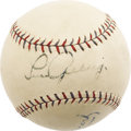Autographs:Baseballs, 1927 Lou Gehrig Single Signed Baseball, PSA EX-MT 6. Leave it tothe Babe to steal Gehrig's thunder yet again, as Lou's bri...