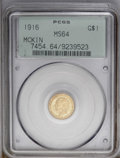 Commemorative Gold: , 1916 G$1 McKinley MS64 PCGS. A satiny apricot and olive-goldnear-Gem with decidedly undisturbed surfaces. Struck from mode...