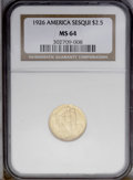 Commemorative Gold: , 1926 $2 1/2 Sesquicentennial MS64 NGC. Well struck with shimmeringorange-gold luster and showing only the faintest evidenc...