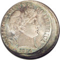 Errors: , 1914-D 10C Barber Dime--Struck 10% Off-Center--MS64 NGC. Approximately 10%, or perhaps slightly more, off-center at 10 o'cl...