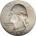 Errors: , 1954 25C Washington Quarter--Struck on a Nickel Planchet--MS63 NGC. 4.9 grams. Essentially the proper weight standard for t...