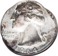 Errors: , 1964 25C Washington Quarter--Struck on a Dime Planchet--MS64 NGC. 2.5 grams. This shimmering near-Gem has dashes of lovely ...