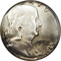 Errors: , 1956 50C Franklin Half Dollar--Struck on a Quarter Planchet--MS63NGC. 6.2 grams per NGC. A lovely example with the entire ...