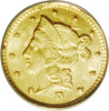 California Fractional Gold: , 1853 50C Liberty Round 50 Cents, BG-421, R.4, MS65 NGC. Die StateIII, which features obvious clash marks (as made) on both...
