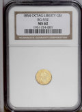 California Fractional Gold: , 1854 $1 Liberty Octagonal 1 Dollar, BG-532, Low R.4, MS62 NGC. Aboldly struck apricot-gold example. The flashy fields disp...