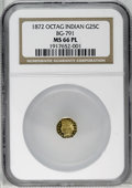 California Fractional Gold: , 1872 25C Indian Octagonal 25 Cents, BG-791, R.3, MS66 ProoflikeNGC. A radiant example with nicely reflective fields and a ...