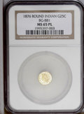 California Fractional Gold: , 1876 25C Indian Round 25 Cents, BG-881, R.5, MS65 Prooflike NGC. Aflashy and beautifully preserved Gem with noticeable con...