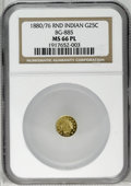 California Fractional Gold: , 1880/76 25C Indian Round 25 Cents, BG-885, R.3, MS66 Prooflike NGC.A flashy and attractive white-gold Premium Gem that app...