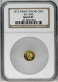 California Fractional Gold: , 1872 50C Indian Round 50 Cents, BG-1048, Low R.4, MS65 ProoflikeNGC. A flashy canary-gold representative with substantial ...