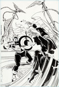 Original Comic Art:Covers, Ron Frenz and Al Milgrom Captain America #344 The Captainand PotUS Cover Original Art (Marvel, 1988)....