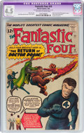 Silver Age (1956-1969):Superhero, Fantastic Four #10 (Marvel, 1963) CGC Apparent VG+ 4.5 Slight (C-1) Off-white to white pages....